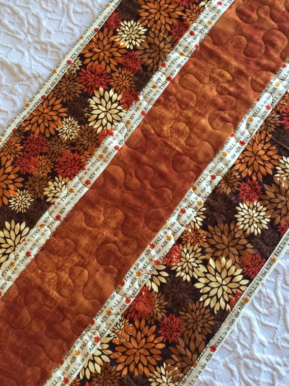 Thanksgiving Quilted Table Runner Patterns : Fall Thanksgiving Table Runner Quilt Fall Autumn Quilt