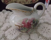 Vintage Shabby Chic Pitcher C.T. Altwasser Germany 23119 Red & Green Grapes Gold Trim