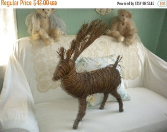 SUMMER SALE Large Twig Reindeer, Holiday Decor, Woodland Decor, Christmas Decor