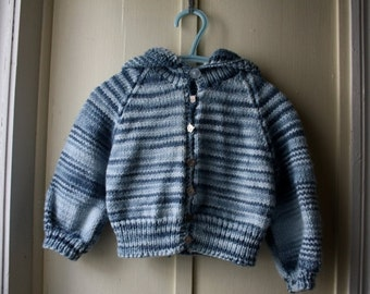 ON SALE Vintage warm and cozy handknit sweater / fall and winter hoodie sweater with kitty cat buttons / baby up to 12 months
