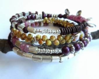 Bracelet, Raspberry Pink Memory Wire Bracelet, Multi Beaded Burgundy and Pink Bracelet, Boho Style Beaded Bracelet, Purple Burgundy Bracelet