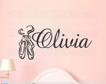 Ballet Slippers Wall Decal | Girls Personalized Dance Monogram | Dance Wall Decals | Nursery Wall Decals | Personalized Girls Dance Decor