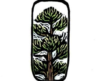 Original Linocut of a Pine Tree by Ken Swanson (9812)