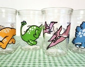 1980s Welch's Dinosaur Jelly Jar Glasses - Complete Set of 4 - Excellent Bright Condition - Vintage Rare - Anchor Hocking