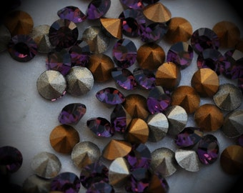 Xilion 1028 21pp Genuine Swarovski Crystals Amethyst Rounds Foiled Rhinestones 144pcs 1 Gross