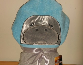 Manatee Hooded Bath Towel