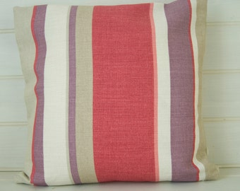 Striped Cushion Cover - Size 40cm/16ins Deck Chair Stripe Red Beige Plum - Made in the UK