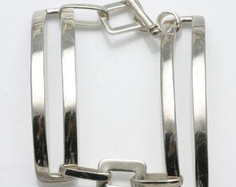 Vintage 925 Sterling Silver Bracelet Modern Long Link Toggle Lock Handmade Estate