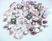 BULK BEADS - Swarovski - Bicone Rondelle - Freshwater Pearls - Czech Glass Mother of Pearl Nuggets - Angel Charm - Over 145 loose beads