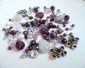 BULK BEADS - Swarovski Crystals - 5523 Cosmic - Amethyst Sliders - Cats Eye Purple - Freshwater Pearls - Czech - Silver over 145+ beads