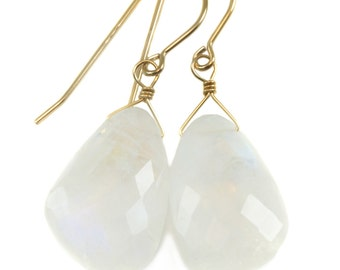 Rainbow Blue Moonstone Earrings 14k Gold Filled Faceted Large off round Briolette Teardrop