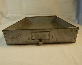 Metal Drawer Gray Vintage Storage Display Industrial Decor Bin Handle Knob Rustic