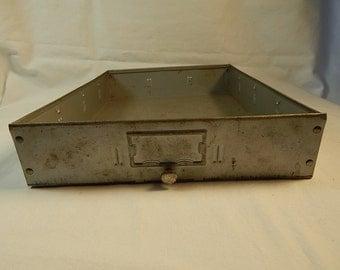 Metal Drawer Gray Vintage Storage Display Industrial Decor Bin with Handle Knob