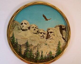 Mount Rushmore Souvenir Tray Vintage Wall Decor Black Hills South Dakota 11 Inch