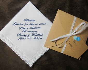 Grandmother of the Bride or Groom - Spanish Version - Personalized Wedding Handkerchief - Free Gift Envelope - Shown with Navy Blue Writing