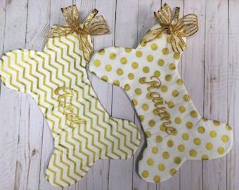 Dog Bone Christmas Stocking, Gold Chevron Dog bone Christmas Stocking, Gold Polka Dot Pet  Stocking, Dog Bone Christmas Pet Stocking
