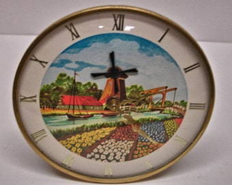 Vintage Metal Motion Dutch Windmill Working Clock Keeps Time Collector Clocks Motion Clocks Dutch Clocks