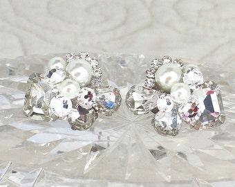 Wedding Earrings-Rhinestone Bridal Earrings- Bridal Cluster Earrings -Pearl Bridal Studs- Vintage Inspired Studs-Brass Boheme-Art Deco Style