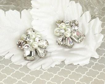 Rhinestone Cluster Bridal Earrings- Swarovski Bridal Studs-Art Deco Earrings-Rhinestone Wedding Earrings-Vintage Inspired Studs-Brass Boheme