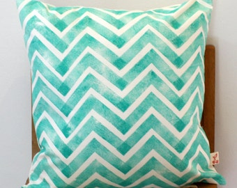 "Jade Chevron Hand block printed decorative scatter cushion cover 18x18"""