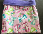 Floral Foxes Flannel and Purple Fleece Snuggle Bag