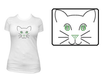 Cat Face Rhinestone Shirt or Transfer