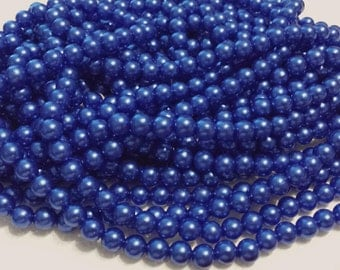 100 Size 8mm Round Beads - 100 Vintage Deep Blue Pearl Beads, Bulk beads for jewelry, weddings, floral bouquets, embellishments