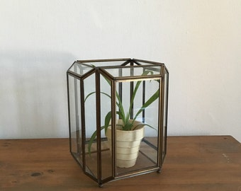 geometric faceted glass brass metal terrarium. 1970s vintage glass greenhouse. bohemian geometric terrarium. geometric boho terarrium