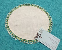 Vintage Round White and Yellow linen doily with hand tatted lace edging for housewares, linen, trim, holiday, table by MarlenesAttic