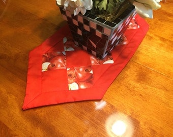 Handmade Red and White with Apple Design table runner by MarlenesAttic