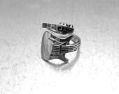 Guitar Ring, Music Ring, Sterling Silver Guitar Ring, Adjustable Ring, Rock-n-Roll Ring