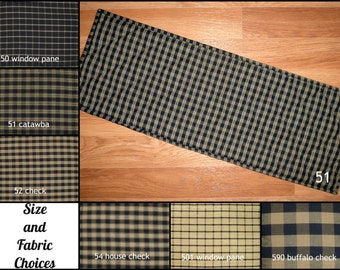 Black And TAN Homespun Quilted Table Runner Placemats Plaid Primitive  Country Rustic 24, 30,