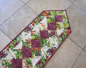 "Quilted Table Runner ""Orchid Show"" Reversible Quilted Table Pad, Quiltsy Handmade, Long Centerpiece, Patchwork Quilt, Long Table Topper"