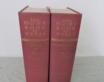 Vintage Poetry Books - The Home Book Of Verse: American and English Vol I & II - 1945 - Poetry Textbooks