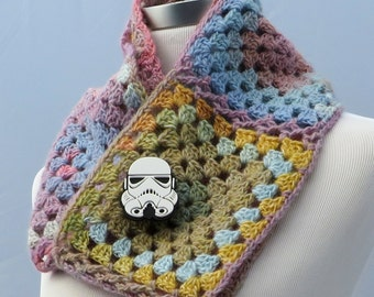 Hand crochet cowl in pastel colors