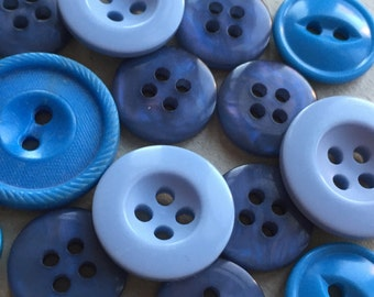 eco friendly midnight blue, periwinkle, and turquoise button destash--mixed lot of 15