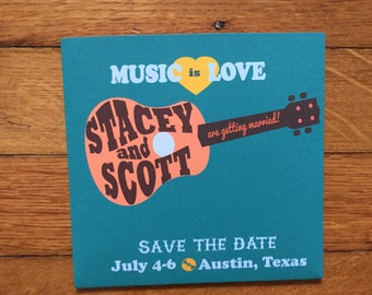 Custom Guitar Wedding or Birthday CD Sleeve Party Favor or Save the Date