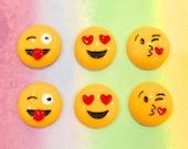 Emoji Smiley Face Resin Cabochon---6 pieces- 22mm