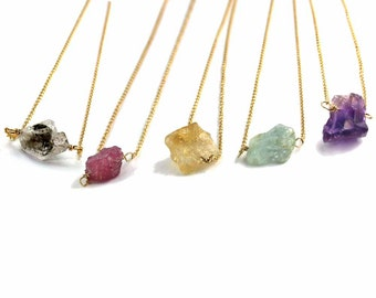 Simple Rough Gemstone Necklace. Wire Wrapped Raw Gemstone. Gold Fill or Sterling Silver.Tourmaline, Citrine, Aquamarine, or Amethyst NS-1924