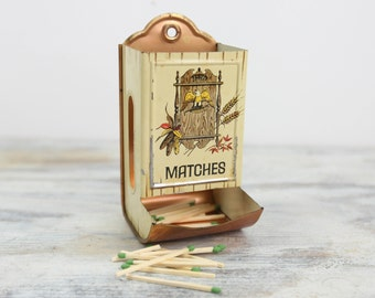 Vintage Tin wall mount box for wooden matches / trinkets