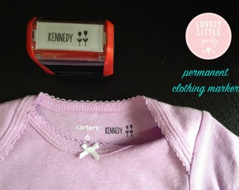 Custom Clothing Stamper, Unique Baby Shower Gift, New Nurse Gift, Uniform Stamper, Name Tag Stamper style 108B - Lovely Little Party