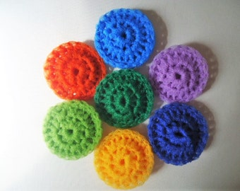 Pot Scrubbers Scrubbies Nylon Net Double Layer Multi Colors Set of 7 Handmade Crochet