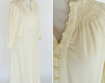 Vintage 1970's Cream Secretary Shirtwaist Dress - Long Sleeve Lace Collar Mid Length Dress - Ladies Size Medium