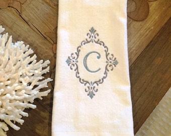 Hand Towel, Personalized, Monogram, Custom, bathroom, Fleur de lis, scroll
