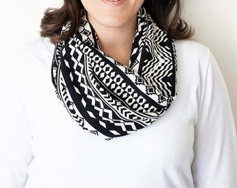 Black and White Aztec Print Infinity Scarf