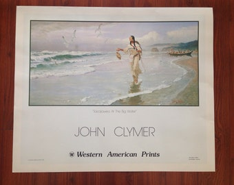 """Vintage poster print Sacajawea at the Big Water by John Clymers 25.5""""x 30.5"""""""