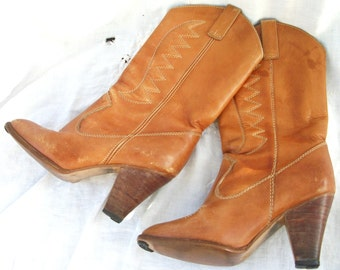 Vintage Chandlers Leather Boots ~ 1970's era Cowboy/Cowgirl ~ Brown ~ Stacked Heel ~ Size 7 1/2 M