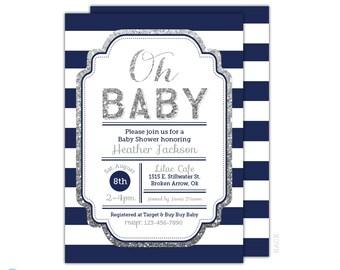 Navy Baby Shower Invitation - Boy Baby Shower Invitation - Oh Baby Invitation - Navy and silver printable - Baby Sprinkle - Couple Shower