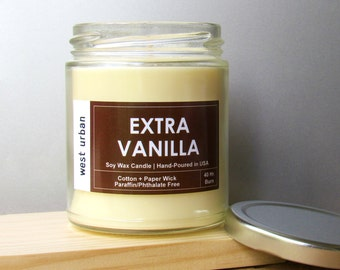 Soy Candle, Scented Jar, Home Decor, Gift, Container Candle, EXTRA VANILLA