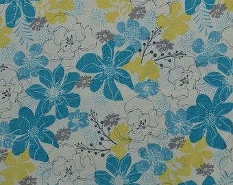 Cotton Quilting Fabric, Cotton Fabric, Sewing Fabric, Cotton Floral Fabric, Turquoise and Yellow, Fabric by the Yard - 1 1/8 Yard - CFL1771